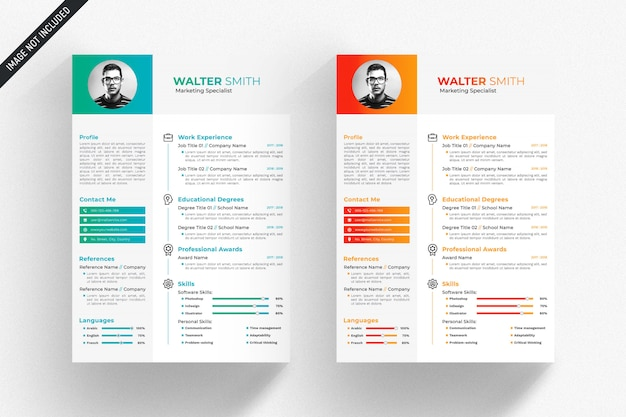 White resume template with green and orange details