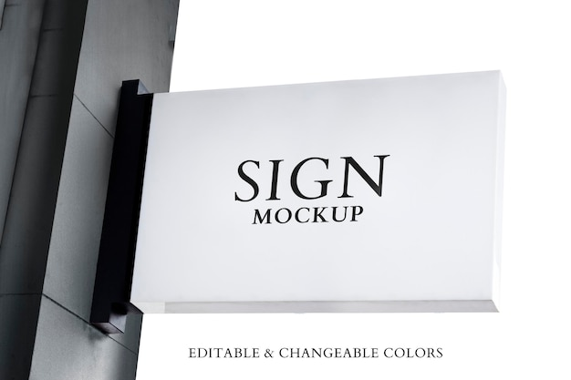 White sign mockup psd in vintage style against the sky