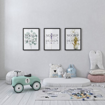 White simple children bedroom with mockup frame photos