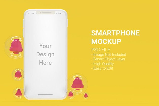 アラーム付きの白いスマートフォンのモックアップ