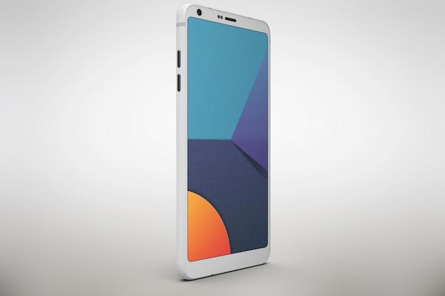 Белый смартфон макет бокового обзора