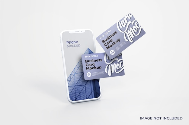 White smartphone with business card mockup