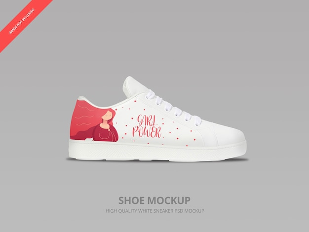 White sneaker shoe mockup isolated
