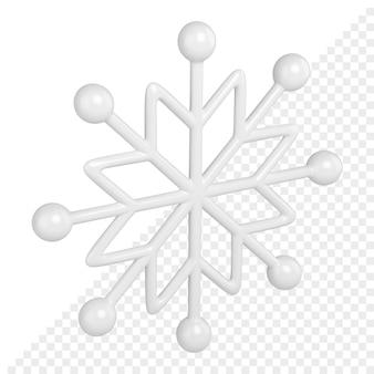 クリスマスクリスタル飾り付きの白いスノーフレーク3dレンダリング
