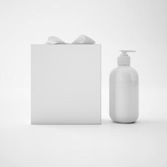Contenitore di sapone bianco e scatola bianca con fiocco
