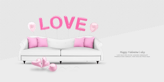 White sofa and ballons in 3d rendering