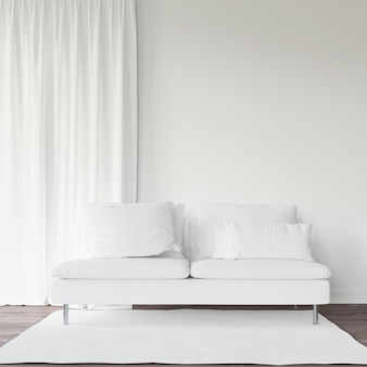 White sofa and curtain