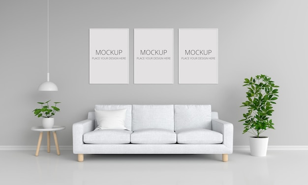 White sofa in gray living room with frames mockup