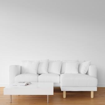 木製の床に白いソファ