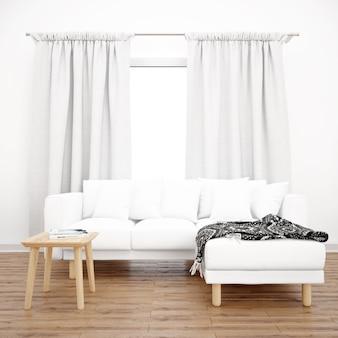 Белый диван под окном