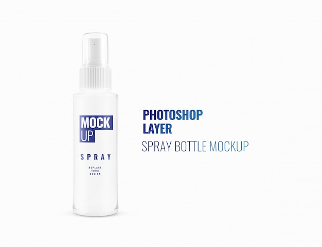 White spray bottle mockup realistic 3d rendering