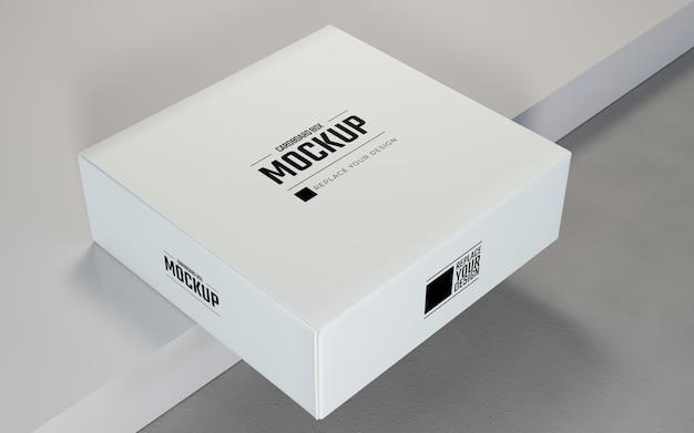 White square cardboard boxes display mockup
