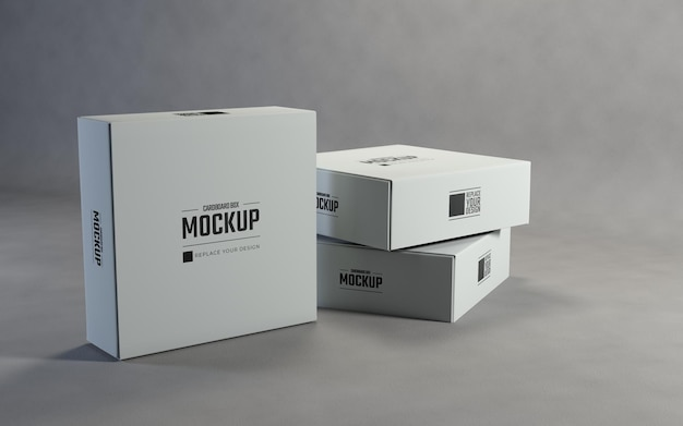 白い正方形の段ボール箱のモックアップ