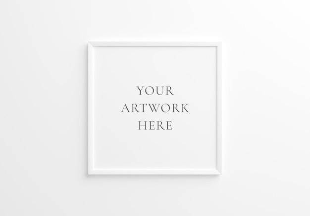 흰색 벽에 흰색 사각형 프레임 모형입니다. 3d 렌더링.