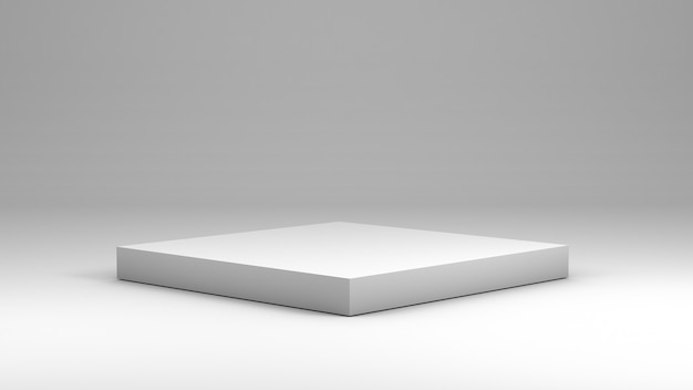 White square podium to display products in 3d rendering