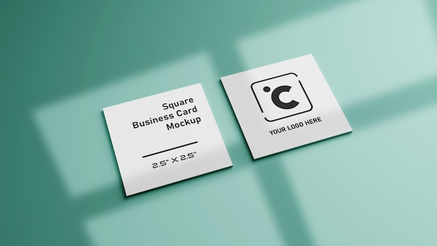 White square shape business card mockup on green mint pastel color
