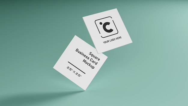White square shape business card mockup stacking on green mint pastel color table illustration rendering