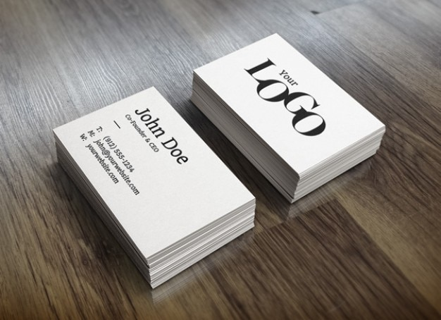 White stack business cards mockup