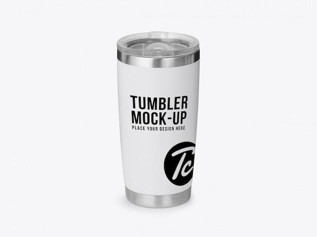 White steel tumbler mockup