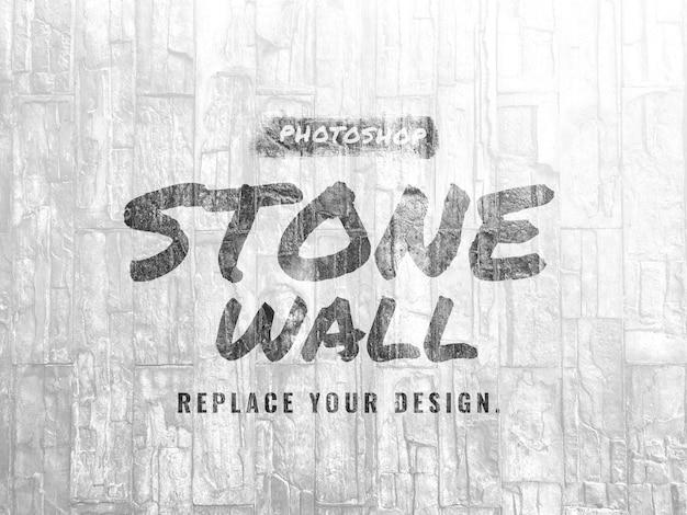 White stone concrete wall mockup realistic