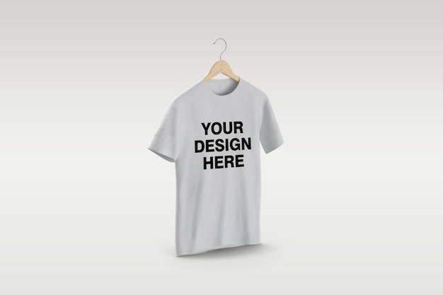 White t-shirt on hanger mockup design isolated isolated