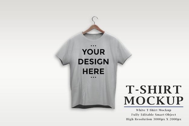 White t-shirt on hanger mockup isolated