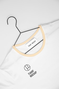 White t-shirt on hanger mockup