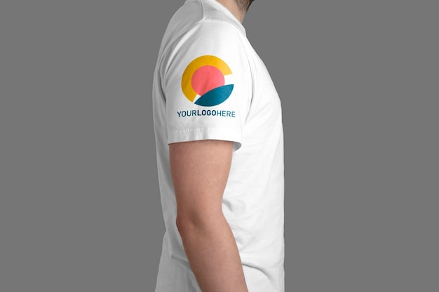 White t-shirt model profile view mockup