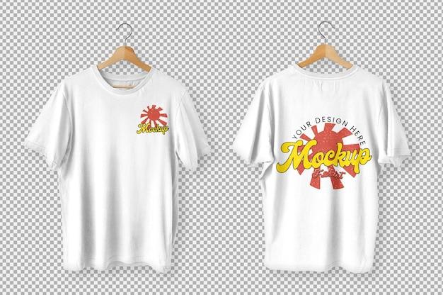 白いtシャツの正面図と背面図のモックアップ