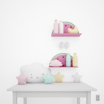 Белый стол украшен детскими предметами, каваи облаками и звездами Бесплатные Psd