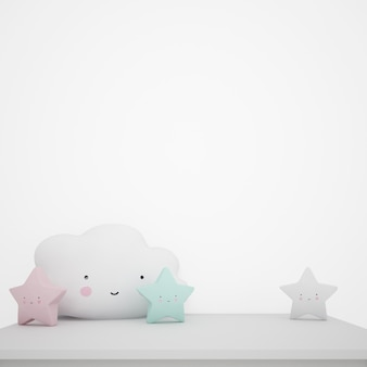 White table decorated with children's objects, kawaii clouds and stars