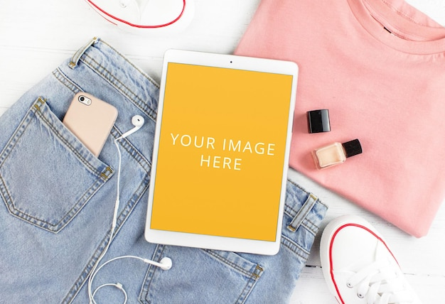 White tabled screen mockup women accessories flat lay