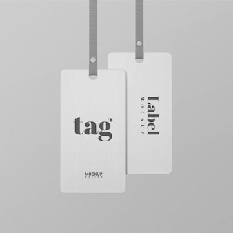 White tag label mockup design isolated