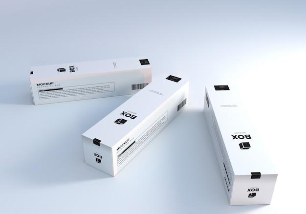 Белые высокие упаковочные коробки макет
