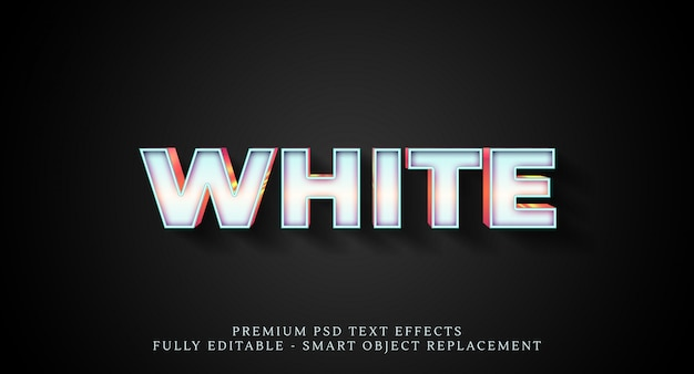 White text style effect psd , psd text effects