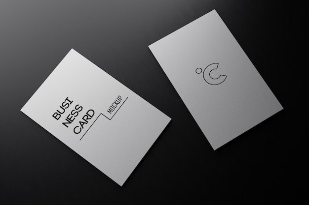 White vertical business card paper mockup template with blank space cover