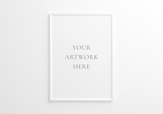 흰색 벽에 흰색 수직 프레임 모형입니다. 3d 렌더링.
