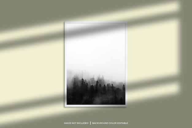 White vertical photo frame mockup with shadow overlay and pastel color background