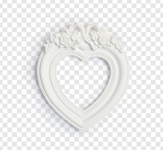 White vintage frame in form of a heart for photos isolated on a white background