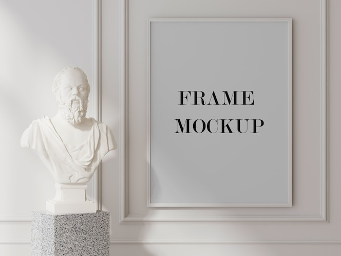 White wall frame mockup beside sculpture