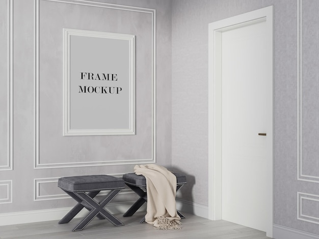 Макет белой стены рядом с белой дверью
