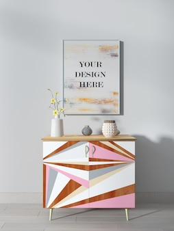 White wall frame mockup above colorful sideboard