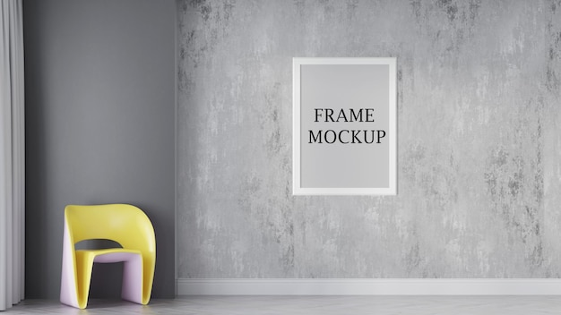 White wall frame mockup for your textures