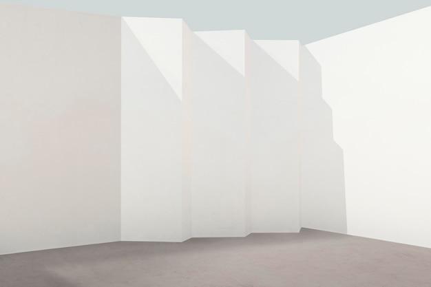 自然光が差し込む空の部屋のpsdの白い壁