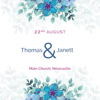 White wedding invitation with blue flowers template