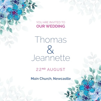 White wedding invitation with blue flowers