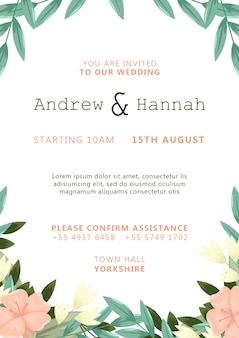 White wedding invitation with pink painted flowers template