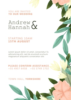 White wedding invitation with pink painted flowers