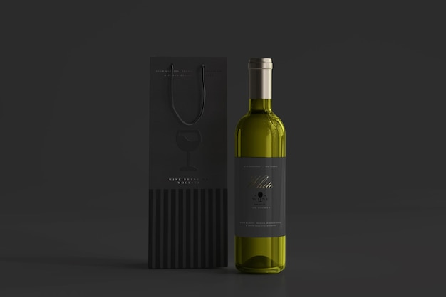 White wine bottle with bag mockup