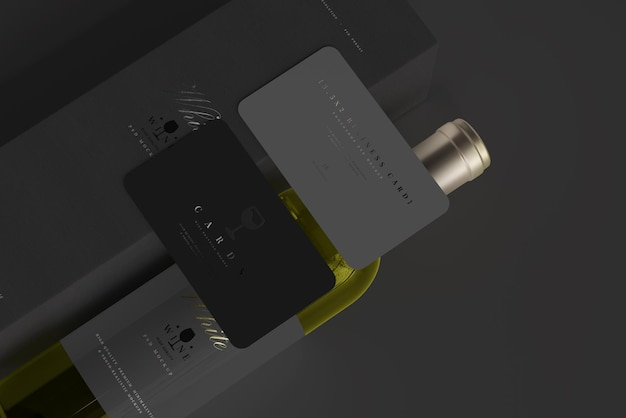 White wine bottle with box and business cards mockup